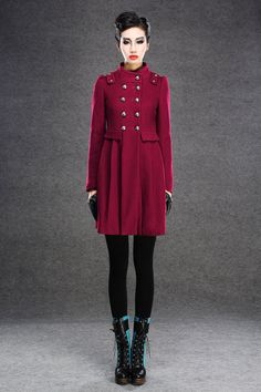 Red coat double breasted wool  Coat 037 by YL1dress on Etsy    other colors available too - might take longer...