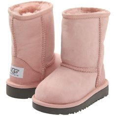UGG Kids Classic (Toddler/Little Kid) ($100) ❤ liked on Polyvore featuring shoes, baby clothes, kids shoes, kids, baby, boots and baby pink