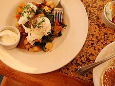 roasted veg with poached eggs on top
