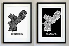 Philadelphia Neighborhoods Typography Map Art Print - bus scroll style subway sign art - choose your background