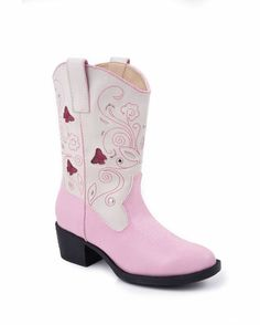 Kid's Butterfly Pink Vamp With Creme Top Boot