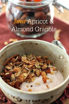 Healthy Apricot and Almond Granola recipe. Perfect for breakfast or snack. Just add Greek yogurt!