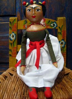 Sale Frida Kahlo Mexican Artist Cloth Doll in by KatalinaTextiles