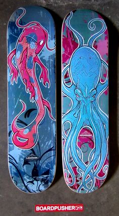 """We have a couple more hand painted skateboard graphics turned to digital prints by Tom Ryans. """"Pink Koi Fish"""" and """"Octo Board"""" are today's Featured Decks and both are available in Tom's shop at www.BoardPusher.com/shop/tomryansstudio."""