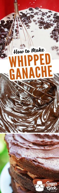 Whipped ganache recipe (SUPER EASY) + Sugar Geek Show Learn how to make decadent whipped ganache. Perfect for icing cakes or piping onto cupcakes. Frosting Recipes, Cake Recipes, Dessert Recipes, Fondant Recipes, Yummy Recipes, Köstliche Desserts, Delicious Desserts, Whipped Ganache, Chocolate Whipped Cream Frosting