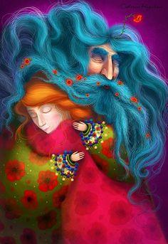 """""""Mi peculiar abuelo"""" y otras ilustraciones mágicas de Catherine Razinkova en el blog de las canciones infantiles de Nene León"""