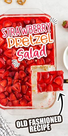 This strawberry pretzel salad is an old fashioned dessert that never gets old! From the sweet and salty pretzel crust to the layers of cream cheese and strawberry jello, it's a creamy and delicious dessert dish that is perfect for any potluck or party! Ingredients include gelatin, fresh strawberries (frozen okay too), cream cheese, vanilla, sugar, crushed pretzels and more! Pretzel Desserts, Great Desserts, Summer Desserts, Delicious Desserts, Yummy Food, Strawberry Pretzel Salad, Strawberry Recipes, Dessert Dishes, Dessert Drinks