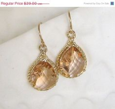 Peach Bridesmaid Earrings Gold and Peach by LoveShineBridal, $27.55