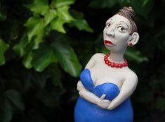 Keramikfigur - Beetstecker - Gartendekoration - kleine Skulptur aus Ton Buddha, Community, Statue, Handmade, Little Miss, Geraniums, Clay, Sculptures, Figurine