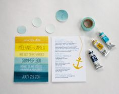 striped color wedding invite