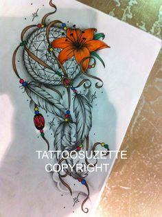 Dream catcher tattoo design by tattoosuzette on DeviantArt Atrapasueños Tattoo, Tatto Ink, Tiger Tattoo, Tattoo Drawings, Tattoo Thigh, Swirl Tattoo, Tattoo Set, Tattoo Fonts, Feather Tattoos