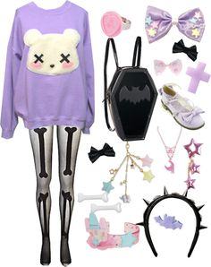 """Pastel goth #2"" by twisted-candy ❤ liked on Polyvore. I'm pretty sure this is borderline ""scene"""