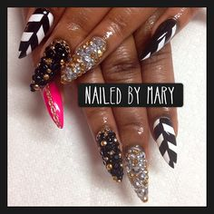 "marynegronimagery: "" Get nailed RIGHT!! #nails #nailtech #nailedbymary #nolumps #nobumps #stilettonails #handpainted #chains #treasurenails #rhinestones #chevron #marynegronimagery #acrylic #augusta..."