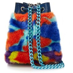 House Of Holland Multicolour Faux Fur Mini Bucket Bag (€185) ❤ liked on Polyvore featuring bags, handbags, shoulder bags, red, bucket bags, metallic purse, red bucket bag, blue purse and blue shoulder bag