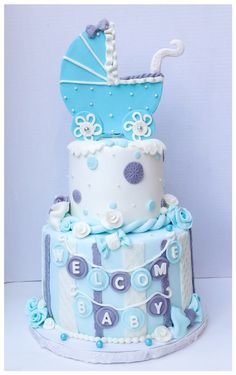 Baby boy shower cake !