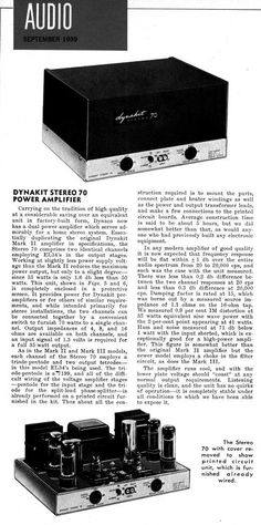 1959 Audio magazine review of the Dynaco ST70 tube amplifier
