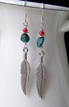 Etsy Pewter Feather Beaded Turquoise and Red by maggiescorner, $12.50