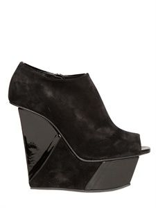 DIEGO DOLCINI - 140MM SUEDE AND PATENT OPEN TOE WEDGES -