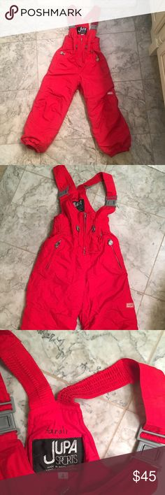 Jupa Sports Red Ski Snow Pants Sz 4 Excellent quality red ski / snow pants by Jupa Sports. Machine washable for easy care. extendable sleeves and pant cuffs grow with her for longer wear. Adjustable waist. Drawcord hem keeps out wind and snow. Boot gaiters fit around boots to keep out snow. Pockets with zippers. Excellent condition! I can not find any flaws!! Jupa Sports Other