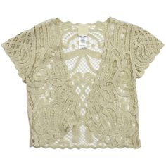 Pre-owned Anna Sui Cream Crochet Cotton Short Sleeve Top ($69) ❤ liked on Polyvore featuring tops, cream, cream crochet top, beige crochet top, short sleeve tops, cream top and beige top