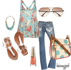 """Very cute! I'd wear a little jacket with it but super cute! --> """"Summer Flair"""" by heismygod on Polyvore"""