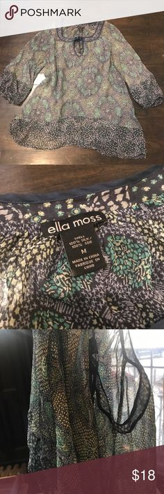 Ella Moss Sheer Shirt Beautiful Sheer shirt. Pictures do not do it justice. In EXCELLENT condition. Ella Moss Tops Blouses