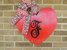 Valentine wooden door hanger by LoversLaneCrafts on Etsy, $30.00