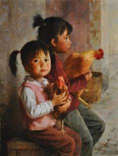 JIE WEI ZHOU FARMER'S MARKET oil on canvas 16 x 12 in (40.64h x 30.48w cm)