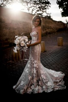 Showstopping florals are a huge bridal trend for 2020 and our Galia Lahav couture wedding dress is a stunning hand-embroidered tulle trumpet gown with shades of ice white and light silver floral embellishments Strapless Lace Wedding Dress, Second Wedding Dresses, Country Wedding Dresses, Black Wedding Dresses, Bridal Dresses, Floral Wedding Gown, Corset Under Wedding Dress, Flower Wedding Dresses, Unique Colored Wedding Dresses