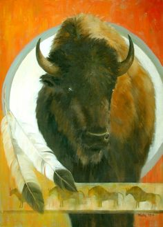 fine oil native american paintings   Fine Art Original Oil on Canvas Buffalo Portrait Native American ...