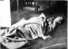 Lueneburg, Germany, 1945, Himmler's body at the site of his suicide.