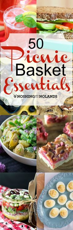 50 Picnic Basket Essentials form Noshing With the Nolands - You'll find everything you need for your next picnic this summer including drinks, salads, sandwiches and much more!