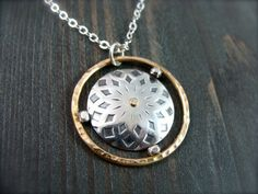 sacred geometry  mixed metal pendant by sirenjewels on Etsy, $53.00