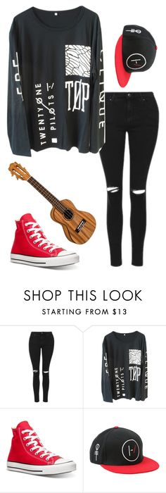 """""""Untitled #118"""" by vansforlife ❤ liked on Polyvore featuring Topshop and Converse"""