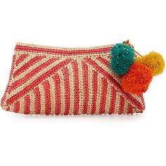 Mar Y Sol Sonia Clutch ($105) ❤ liked on Polyvore featuring bags, handbags, clutches, coral, mar y sol handbags, woven handbags, red purse, woven straw handbags and basket weave purse