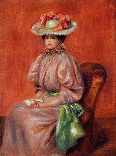 Seated Woman with Green Sash - Pierre-Auguste Renoir Paintings Pierre Auguste Renoir, Renoir Paintings, Impressionist Paintings, Art Paintings, August Renoir, Oil Canvas, Georges Seurat, Oil Painting Reproductions, Claude Monet