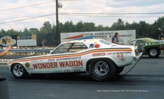 "Don Schumacher's ""Wonder Wagon"" '73 Cuda launches against Tom Snelling in the ""Bob Banning Dodge"" '72 Challenger in an F/C showdown."