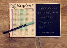 Bullet journal sleeplog. Quote Winnie the Pooh. Black and blue