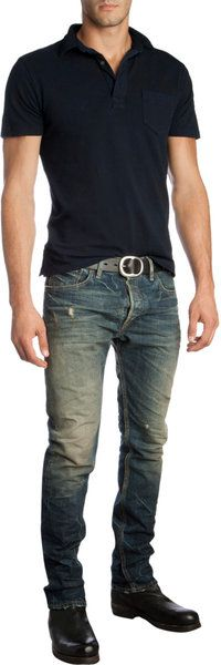 Basic polo and jeans, but the leather belt and shoes make this look a little more put together! Thanks, headless dude!