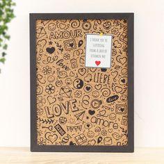 Cork Pinboard with Love Doodle Print Love Doodles, Diy Cork Board, Cork Boards, Practical Gifts, Better Half, Scribble, Cute Love, Valentines, Super