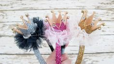 Birthday Girl Crown Headband/Princess glitter by APPLEMINTHOUSE