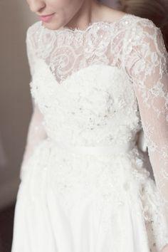 High neckline lace gown