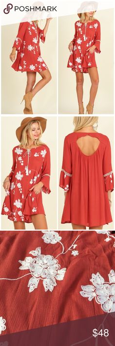 Boho Chic Bell-Sleeve Dress Great dress for Fall to wear with boots, soft flowy boho style, embroidered floral design with tie front and open back detail Dresses