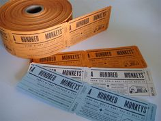 A Hundred Monkeys Business Cards: how genius is this business cards resembling tickets
