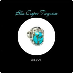 NEWBLUE COOPER TURQUOISE RING NEW BLUE COOPER TURQUOISE RING METAL.                925 STERLING SILVER STONE SIZE.      19 mm X 14 mm RING SZ.               6.26 WT.                          5 gm Beautiful, Handcrafted Blue Copper Turquoise RING Size 6 will be available soon! Jewelry Rings
