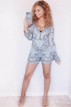 Sequins, embellished, embellishment, romper, holiday, outfit, summer, wedding, curly hair, blonde, @ashleyymari3