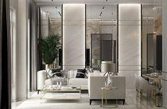 UI021 on Behance Luxury Bedroom Design, Home Room Design, Luxury Interior, House Design, Studio Interior, Interior Design Living Room, Living Room Designs, Ideas Recibidor, Luxurious Bedrooms
