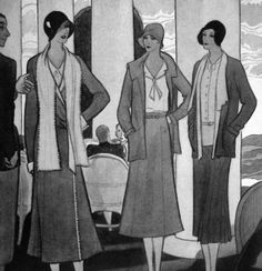 1930 Vogue UK - love the various lapels on the blazers - Chanel