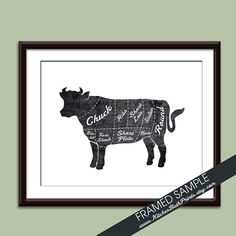 BEEF (Butcher Diagram Series) - Art Print (Featured in Vintage Chalkboard and White) Customizable Kitchen Prints