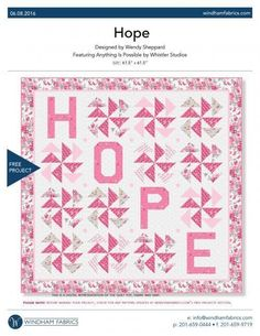 Hope Quilt Kit Pink Ribbon Breast Cancer Awareness Fabric Throw Windham Fabrics #MaywoodStudios
